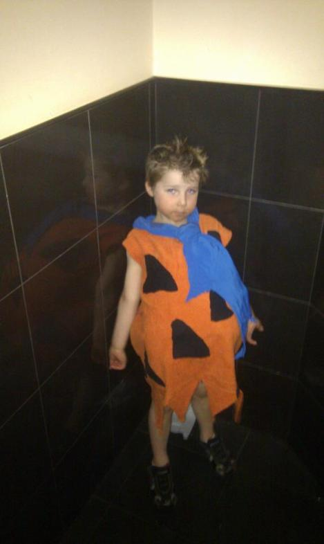 Child's homemade Fred Flintstone costume for Blue Dolphin Polly's Fancy Dress party